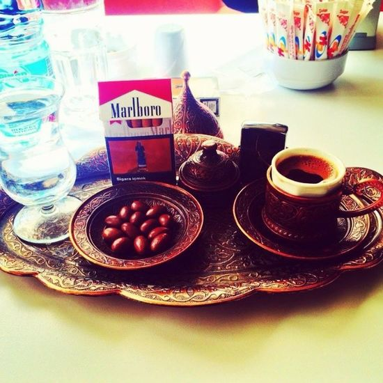 Bir pazar klasigi.. with @onrergn01 Turkishcoffee Turkishdelight Marlboro Zippo Kastamonu