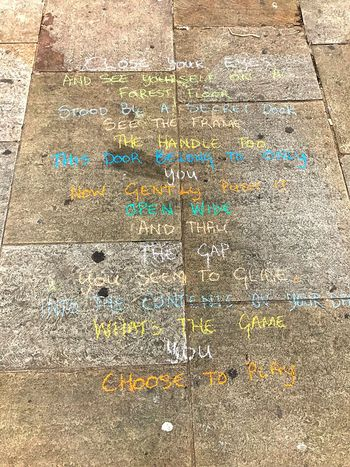 Thoughts on a sidewalk; chalkart; one man's work - he must have chalked an entire block by the time I walked past him, amazing words. So Deep 🇬🇧 Communication No People IPhoneography The Graphic City
