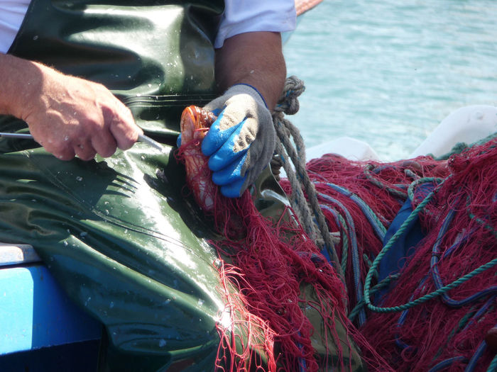 Midsection of fisherman holding fishing net