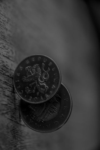 Business Circle Close-up Coin Currency Economy Finance Focus On Foreground Geometric Shape High Angle View Indoors  Metal No People Representation Savings Selective Focus Shape Silver Colored Still Life Table Text Wealth