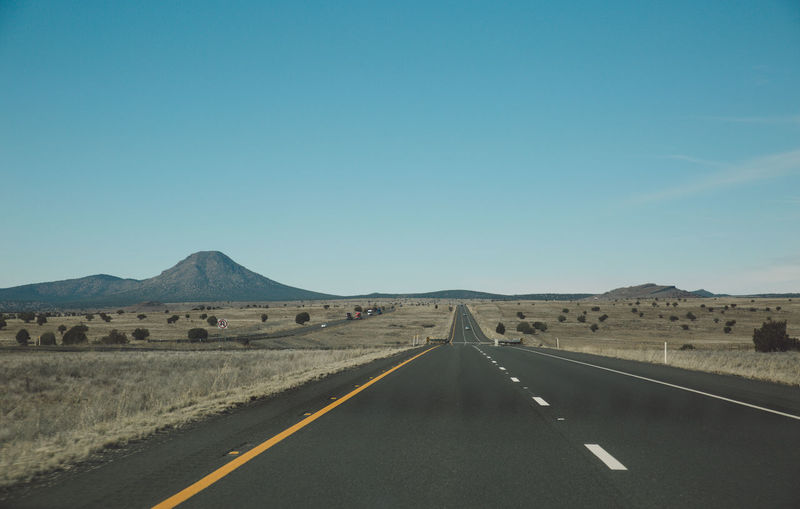 Arid Climate Arid Landscape Arizona Asphalt Clear Sky Day Diminishing Perspective Empty Landscape Mountain Nature No People Outdoors Road Road Road Marking Roadtrip Route 66 Route66 Scenics The Way Forward Tourist Attraction  Tourist Destination Transportation White Line