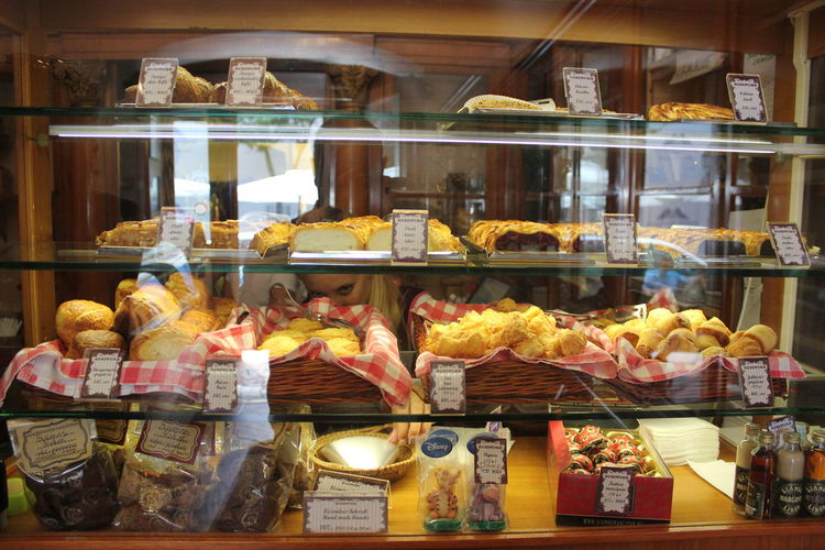 Cakes Choosing Cream Cakes Bakery Display Cabinet Eyes Food Food And Drink Hunger Looking Mix Yourself A Good Time Patisserie Real People Retail  Shelf