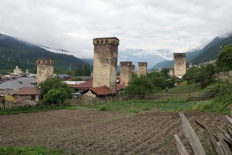 Swanetia, Mestia, Georgia, Europa Building Exterior Buildings Caucasus Caucasus Mountains Day Europe Georgia Landscape Mestia No People Outdoors Rural Scenery Scenics Swanetia Tourism Tourism Destination Tourist Attraction  Tower Travel Travel Destinations Village