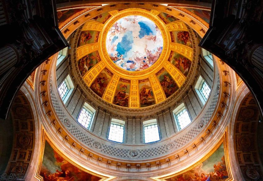Time Travel Gateway France Paris Travel Destinations Napoleon Dome Dome Architecture Fresco Built Structure Travel Destinations Ceiling Religion Indoors  Low Angle View Illuminated History Window