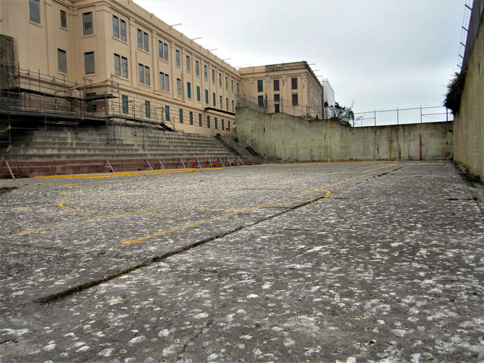 Rec yard at Alcatraz. Alcatraz Alcatraz Island Bay Area California Court Federal Penitentiary Jail R And R Recreation  San Francisco Wall Abandoned Golden Gate National Recreation Area National Park Service Outside Playground Prison Prison Yard Rec Yard Recreation Yard Sports Tourism Walled In