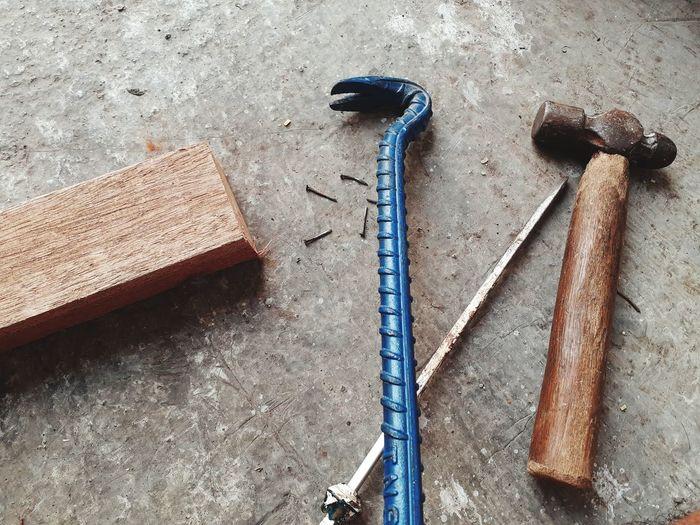 High angle view of wood on table