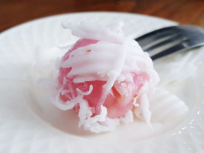 Food Pink Color Close-up Ready-to-eat Thai Sweetmeat Thai Coconut Munchkins Munchkin Coconut Munchkin