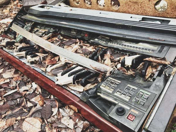 Music Keyboard Destruction High Angle View Day Technology Railroad Track Old-fashioned No People Outdoors