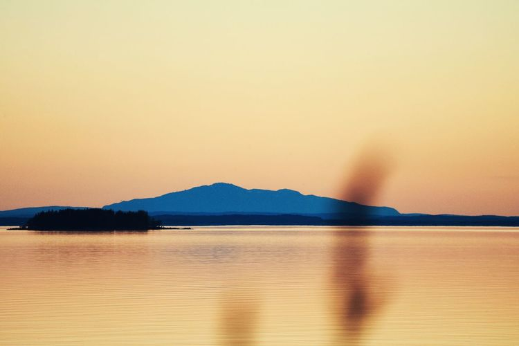 Water Sky Sunset Sea Scenics - Nature Beauty In Nature Tranquility Tranquil Scene Mountain No People Nature Land Copy Space Orange Color Idyllic Reflection Clear Sky Outdoors Romantic Sky
