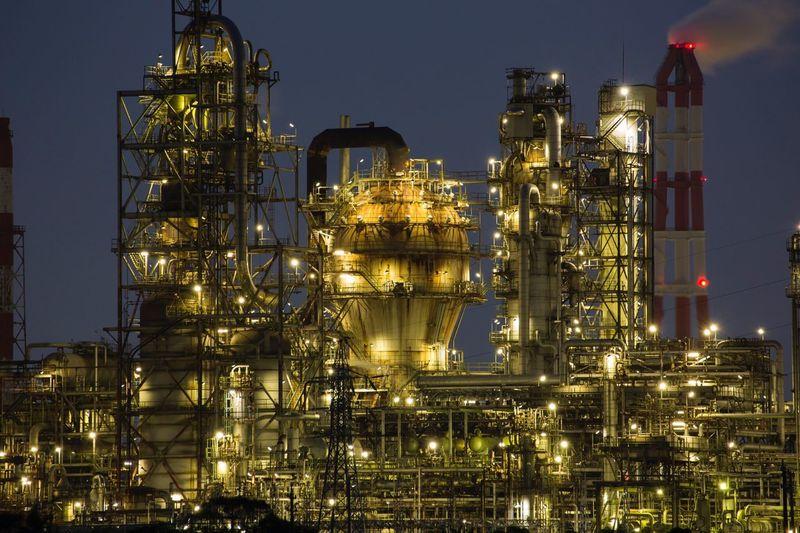 Illuminated Factory At Night