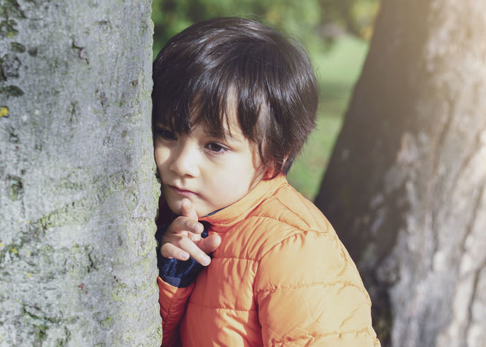 Portrait of cute boy against tree trunk