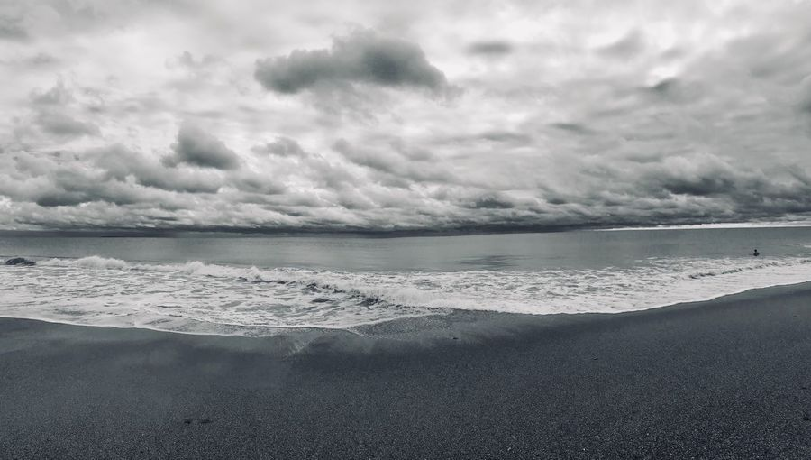 Panoramic beach scene in black-and-white with storm clouds gathering Ominous Atlantic Ocean Atlantic Coast Ocean Horizon Surf Storm Clouds Panorama Hi There Black And White Beach Land Sea Beauty In Nature Sky Cloud - Sky Tranquility Scenics - Nature Water Tranquil Scene Nature Horizon Over Water Sand Horizon No People Wave Outdoors