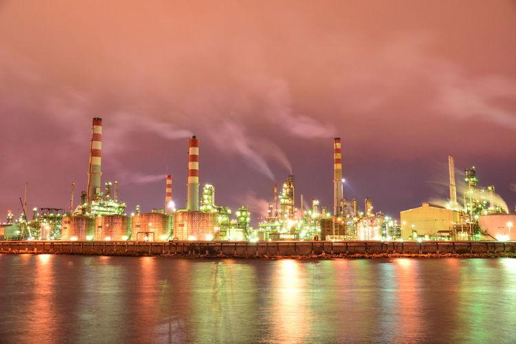 Fuel And Power Generation Oil Industry Industry Refinery Inthemiddleofthenight Nikonphotography Water Sky Outdoors Nighttonight TheColourOfLife Illuminated Dark BestEyeemShots