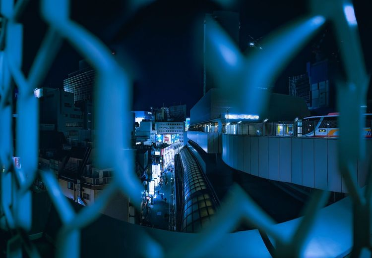 Shibuyascapes Exceptional Normalcy Osmo Pocket DJI OSMO POCKET Dji Neo Tokyo Urban Street Abstract Fence Tokyo Japan Alley Tech Technology Futuristic Cyberpunk Blue Neon Cityscape Illuminated Focus On Background Technology Lighting Equipment Performance Light Arts Culture And Entertainment Stage - Performance Space Night Nightlife My Best Photo Humanity Meets Technology