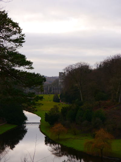 Architecture Beauty In Nature Building Exterior Built Structure Cloud - Sky Day December December 2016 Fountains Abbey Fountains Abbey Yorkshire Fountains Abbey, Yorkshire Growth History Nature No People Outdoors River Sky Travel Destinations Tree Water