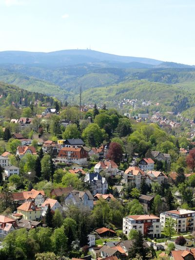 Outdoors Cityscape City Sky Day Landscape Mountain Nature Rural Scene View Over Wernigerode View To The Mountain Brocken Harz Mountains, Germany Harzer Brocken Harzblick