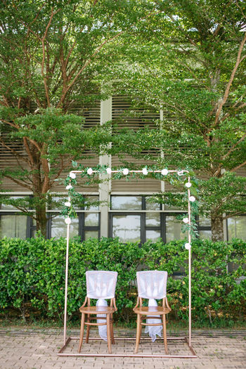 Chairs and table against trees in yard