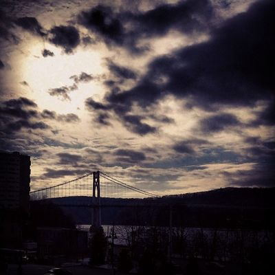 Poughkeepsie Newyork Bridge MidHudsonBridge Clouds Sun