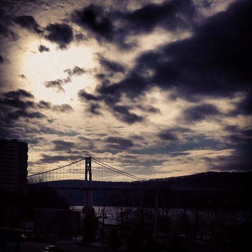 Poughkeepsie Newyork Bridge MidHudsonBridge Clouds Sun