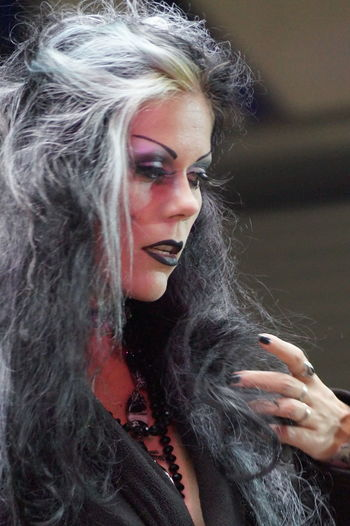 Beautiful Woman Beauty Close-up Fashion Fashion Model Fashion Show Glamour Goth Gothic Style Indoors  Lifestyles Long Hair Make-up Mera Luna Festival One Person Portrait Posing Real People Young Women