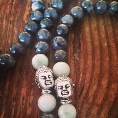 New Labradorite and Amazonite mala in our store! Yoga Prayer Spiritual Mantra