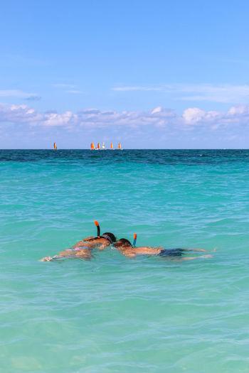 Snorkeling on the Atlantic coast, Cuba, Varadero Cuba Cuba. Varadero Snorkeling Snorkling Time Varadero Beauty In Nature Cloud - Sky Day Horizon Over Water Ocean Outdoors Sea Sky Swimming Water