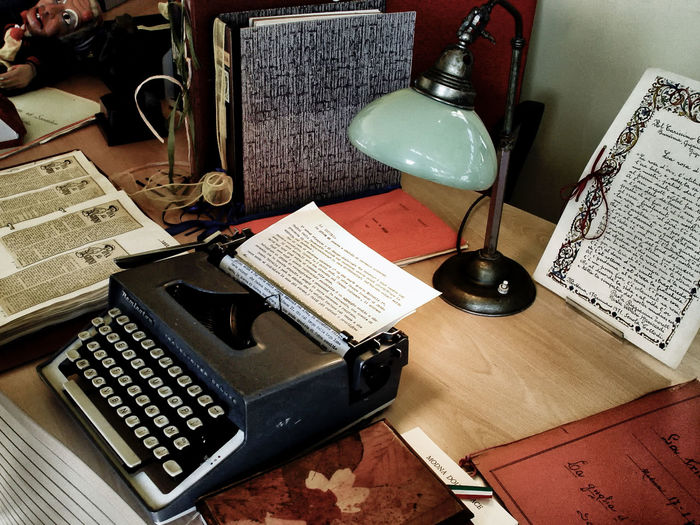 Communication Desk Desk Lamp Handwriting  Historical Documents Indoors  Memories No People 😇😇😇 Obsolete Technology Old Technology Paper Study Writing Writing Machine  Written Text Close Up Technology