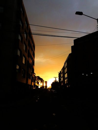 Sundown Bogotá Siluettes Black&Yellow Lights Out The End? Street Photography Day&night Darkness And Light Windows Light Street Arquitecture