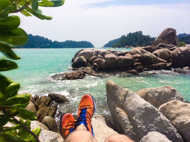 Pangkor Pangkor Island Recreation  Vacations Beach Beauty In Nature Day Human Leg Lifestyles Love Yourself Low Section Malaysia Nature Orange Shoes Outdoors Personal Perspective Real People Relaxation Rock - Object Sea Sea Rocks Sneakers Sunlight Water