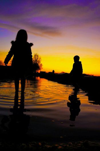 Silhouette Enjoying Life Hello World Landscape Relaxing Taking Photos Water Reflections Outdoors Kids Being Kids Cool Kids Water Walking On Water