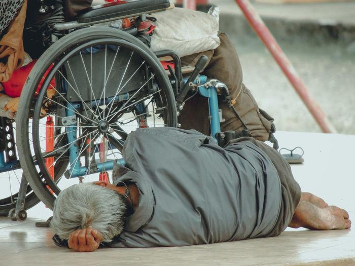 Man sleeping on cart