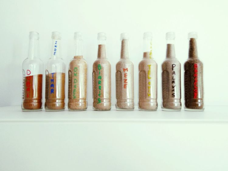 Sand Color Colorful Bottles Collection Collector Sand & Sea Sandy Beach Sand Color Beautiful Nature Great Atmosphere Cool Day Hight Summer Sun Bottle Art Degraded Time World BeachGood Times