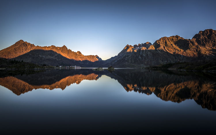 Beauty In Nature Clear Sky Day Lake Mountain Mountain Range Nature No People Outdoors Reflection Scenics Sky Tranquil Scene Tranquility Water Waterfront