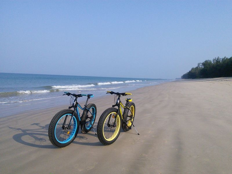 Beach Beauty In Nature Bicycle Clear Sky Day Horizon Over Water Nature No People Outdoors Sand Scenics Sea Sky Stationary Tranquil Scene Tranquility Travel Travel Destinations Traveling Travelphotography Water Traveling Home For The Holidays Wheel Transportation Transport Miles Away