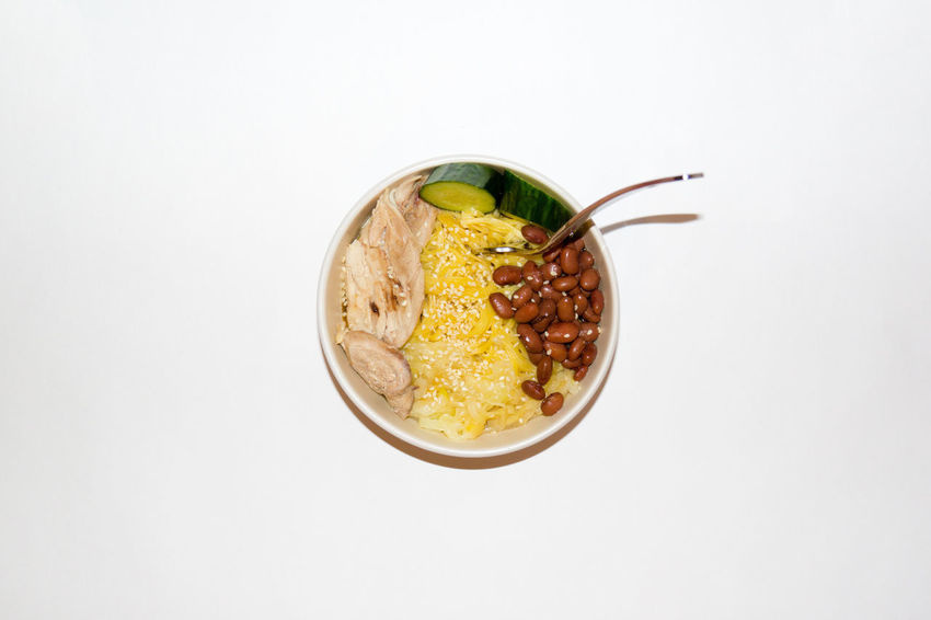 Fork Bean Bowl Chicken Meat Close-up Cucumber Slices Directly Above Food Food And Drink Freshness High Angle View Indoors  No People Pasta Ready-to-eat Studio Shot White Background