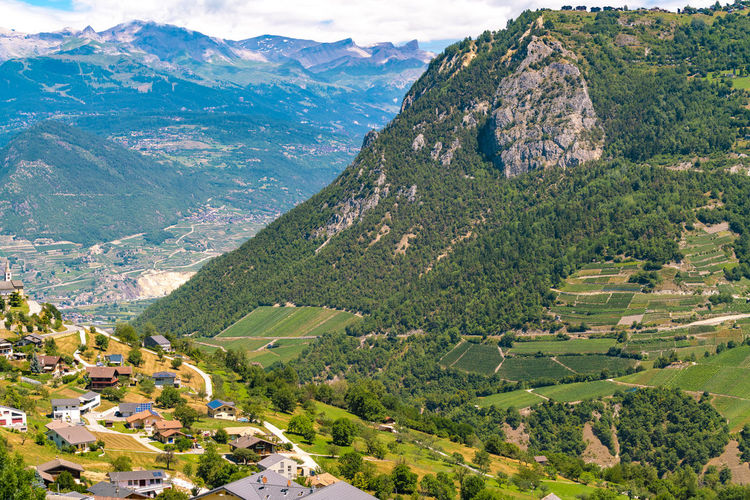 High angle view of landscape and mountains