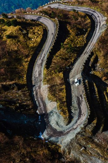 High Angle View Of Car On Mountain Road