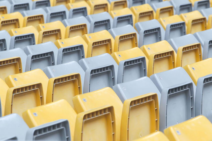 Raw of stadium chair Backgrounds Close-up Day Full Frame In A Row Indoors  Large Group Of Objects No People Repetition Yellow