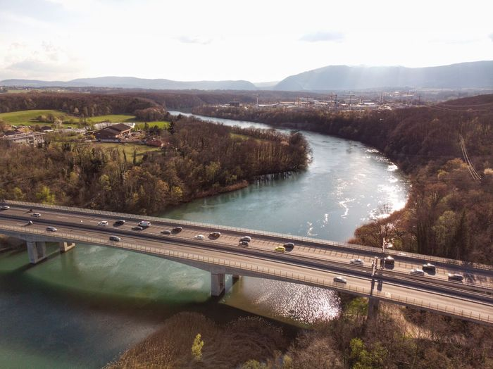 No traffic at the bridge Aerial Rhône Switzerland Swiss Drone Photograph DJI Mavic Air DJI X Eyeem Bridge Water Nature Scenics - Nature Tranquility Beauty In Nature No People Tree High Angle View River Landscape Non-urban Scene Environment Outdoors Tranquil Scene Plant Mountain Sky Day