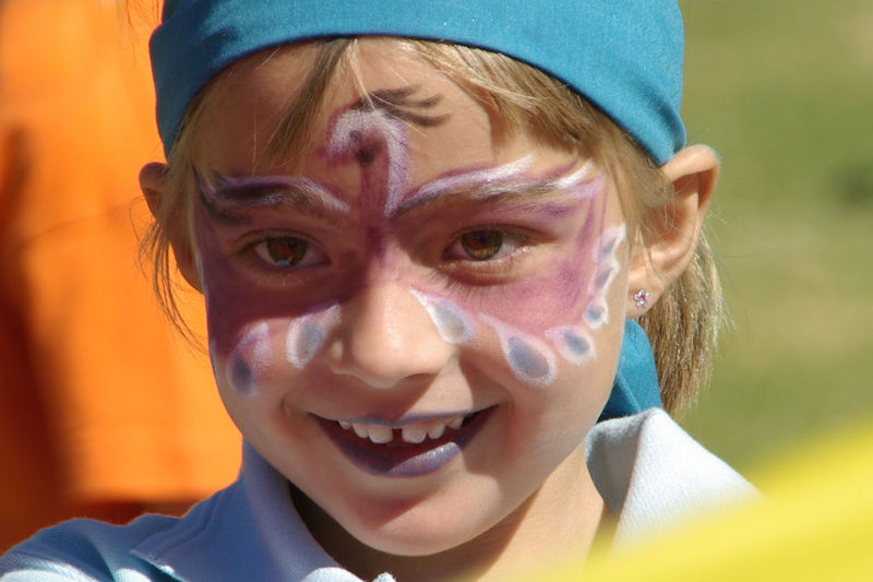 Child Cute Face Painted Face Painted Child Fun Happiness Headshot Human Face Mouth Open Outdoors Person Portrait Smile Smiling Toothy Smile