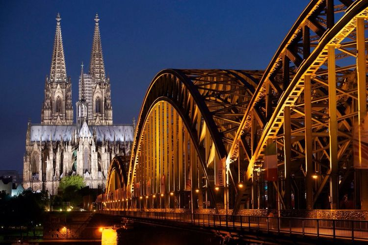 Cologne Cathedral and Hohenzollern Bridge Cologne Germany Cathedral City View  History Tourist Attraction  Tourism Architecture Cityscapes_collection Fineart Fine Art Cologne Cathedral, Germany Fine Art Photography Colognecathedral Cologne , Köln,  Evening Sky Night Nightphotography Monument Monuments Heritage World Heritage Blue Sky Night Photography Illuminated