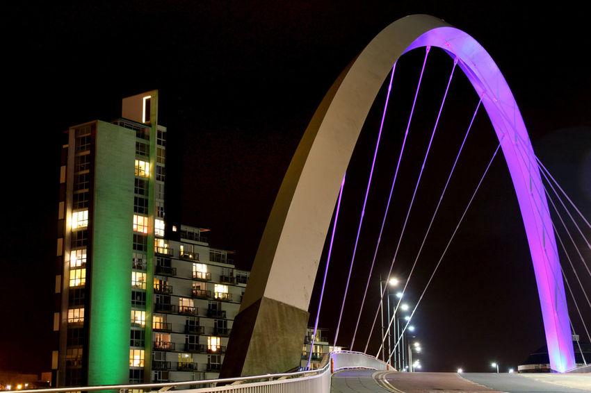 Glasgow  Glasgow By Night GLASGOW CITY Glasgow Streets Glasgow Squinty Bridge Clyde Arc Landscape Urban Landscape