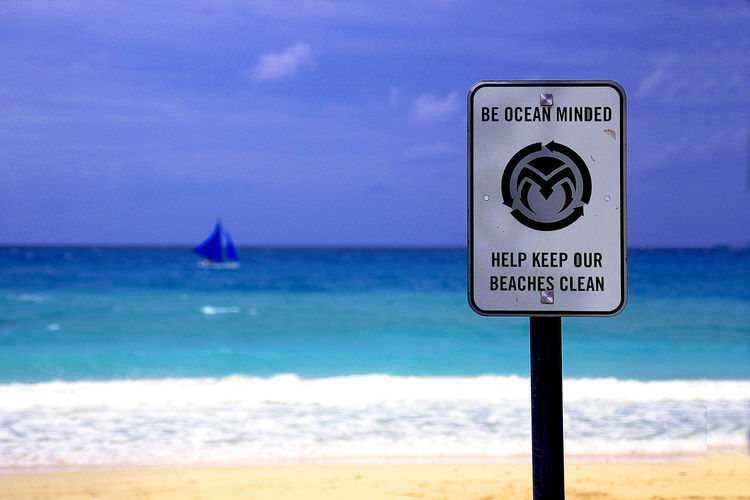 Beach Beachsign Blue Sky Clean Up Environment Protection Savetheearth Sea And Sky SignSignEverywhereASign