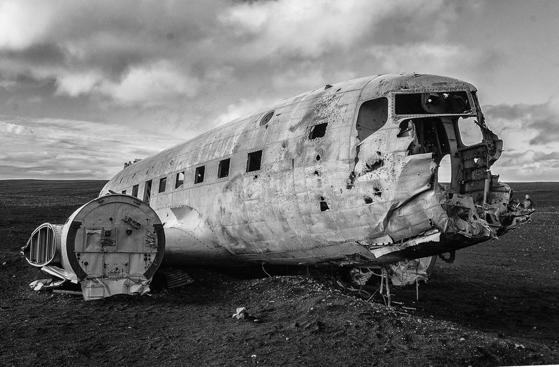Black & White Crash DC-3 Iceland Plane Wreck Abandoned Black Sand Beach Damaged Landscape Military Airplane Wrecked