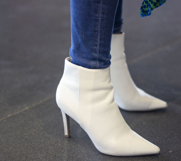 Low Section Human Leg Shoe Human Body Part Body Part One Person Real People Standing Women Jeans Human Foot Focus On Foreground Fashion Day White Color Lifestyles Adult Arts Culture And Entertainment Limb Human Limb