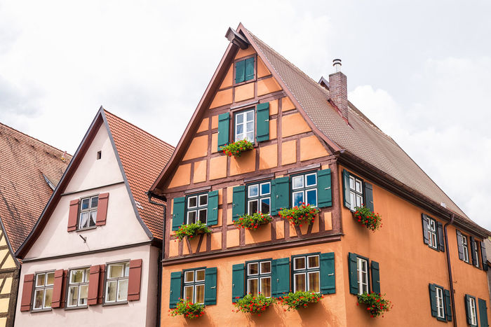 Apartment Architecture Balcony Building Building Exterior Built Structure City City Life Cloud Cloud - Sky Day Dinkelsbuhl Façade Low Angle View No People Outdoors Residential Building Residential District Residential Structure Sky