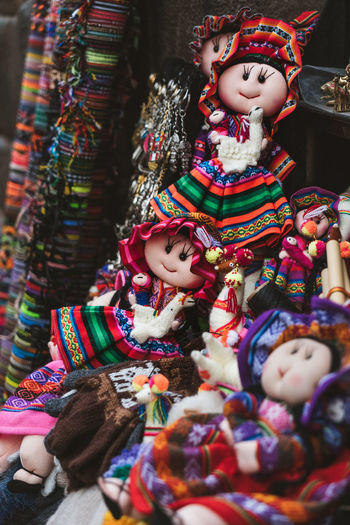 Handmade dolls with colourful  dresses