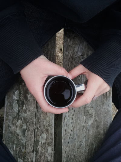 Coffee lover Coffee - Drink Coffee Cup Coffee Coffee Time Black Wood - Material Hands Human Hand High Angle View Directly Above Close-up Personal Perspective Human Feet Human Leg Human Finger Espresso Black Coffee