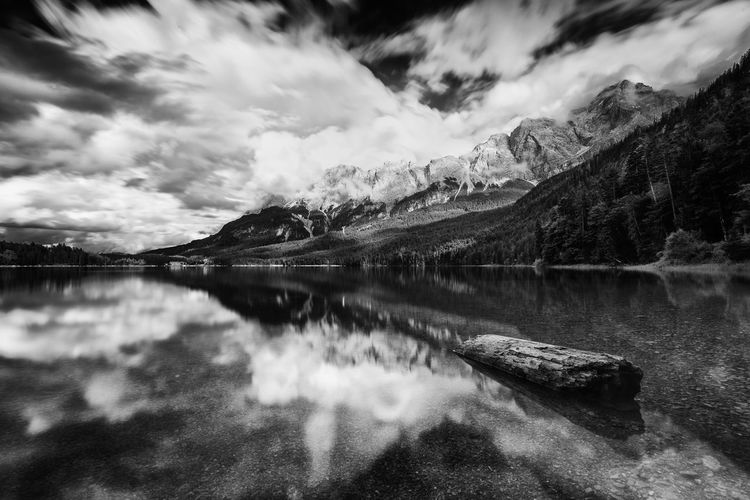 Alpen Eibsee Alps Beauty In Nature Blackandwhite Cloud - Sky Day Environment Germany Idyllic Lake Monochrome Mountain Mountain Range Nature No People Non-urban Scene Reflection Scenics - Nature Sky Tranquil Scene Tranquility Water Waterfront