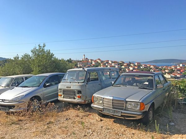 Old mercedes outside Seget Vranjica Summer Landscape View Balcan Truck Mercedes Car Terto Vintage Old Land Vehicle Transportation Mode Of Transport Car Day No People Blue Clear Sky Sky